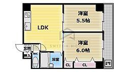 大阪府大阪市東成区大今里南5の賃貸マンションの間取り