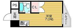京阪本線 守口市駅 徒歩3分の賃貸マンション 2階1Kの間取り
