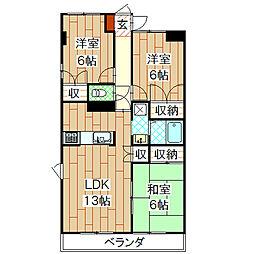 八紘レジデンス[4階]の間取り