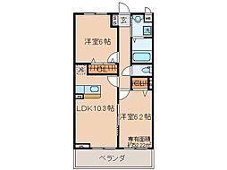 JR奈良線 新田駅 徒歩12分の賃貸アパート 3階2LDKの間取り