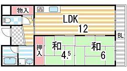 ライブスクエア2B[106号室]の間取り