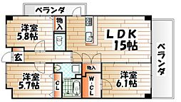 Merveille Ishida[4階]の間取り