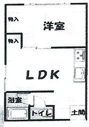 リバーサイド天川・A棟 1階1LDKの間取り