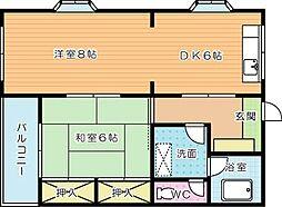 島名第二コーポ[3階]の間取り