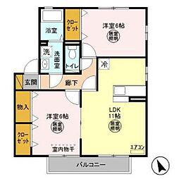 茨城県神栖市堀割2丁目の賃貸アパートの間取り