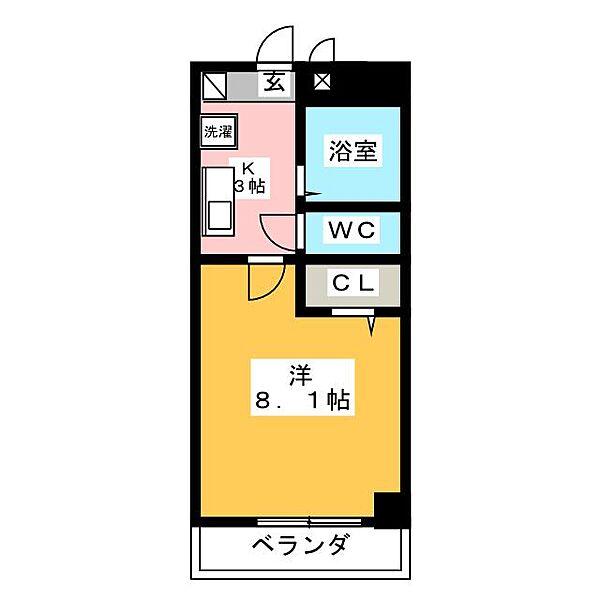 パレスヤマハン[4階]の間取り