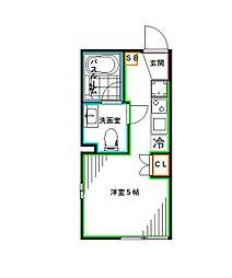 LiveFlat中野鷺宮 1階ワンルームの間取り
