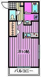 永野マンションIII 1階ワンルームの間取り