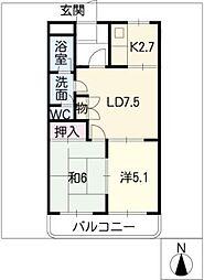 コーポ雅[2階]の間取り