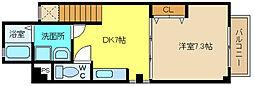 兵庫県姫路市飾磨区中島の賃貸アパートの間取り