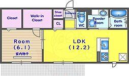 JR東海道・山陽本線 長岡京駅 徒歩35分の賃貸アパート 1階1LDKの間取り