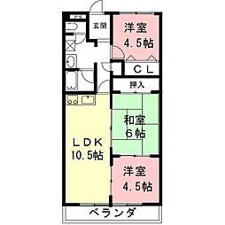 岐阜県各務原市那加新加納町の賃貸アパートの間取り
