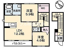 岡山県倉敷市児島田の口1丁目の賃貸アパートの間取り