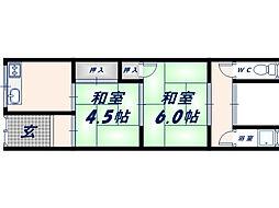 [テラスハウス] 大阪府東大阪市若江西新町2丁目 の賃貸【/】の間取り