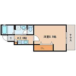 近鉄大阪線 大和八木駅 徒歩4分の賃貸アパート 1階1Kの間取り
