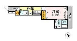 コンフォート新治町 3階1Kの間取り