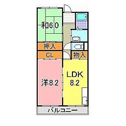 JR東海道・山陽本線 西明石駅 バス14分 玉津曙北下車 徒歩4分の賃貸マンション 3階2LDKの間取り