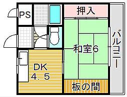 大阪府吹田市寿町2丁目の賃貸マンションの間取り
