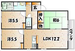 メゾンエムロード B棟[1階]の間取り