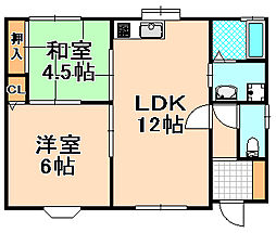兵庫県伊丹市高台3丁目の賃貸アパートの間取り