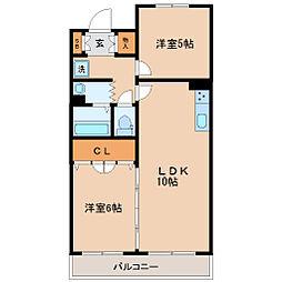 JR仙石線 仙台駅 徒歩12分の賃貸マンション 2階2LDKの間取り