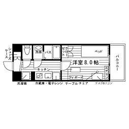 (仮称)大橋駅学生マンション 2階1Kの間取り