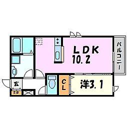 ラディアント園田 2階1LDKの間取り