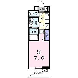 ディアコート 宮脇(アパート) 3階1Kの間取り