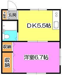 東京都練馬区東大泉7丁目の賃貸アパートの間取り