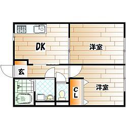 フォンティーヌ B棟[2階]の間取り