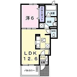 愛知県長久手市下山の賃貸アパートの間取り