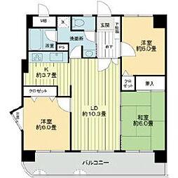 ライオンズマンション六ツ門南[5階]の間取り