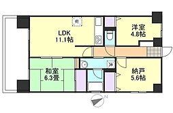 ライオンズマンション倉敷老松町[5階]の間取り