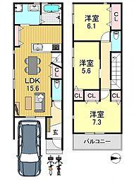 [一戸建] 大阪府大阪市平野区平野元町 の賃貸【/】の間取り