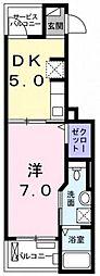 東京都あきる野市秋留1の賃貸アパートの間取り