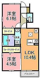 D−room中根[105号室]の間取り
