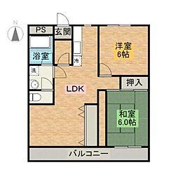 宮崎県宮崎市清水3丁目の賃貸アパートの間取り