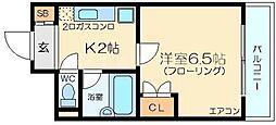 大阪府大阪市東淀川区東中島1の賃貸マンションの間取り