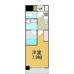 名古屋市営名港線 六番町駅 徒歩4分の賃貸マンション 8階1Kの間取り