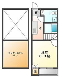 ドヌールⅤ草薙[2階]の間取り