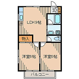 神奈川県横浜市神奈川区松見町4丁目の賃貸アパートの間取り