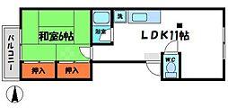 守口市馬場町2丁目アパート 3階1LDKの間取り