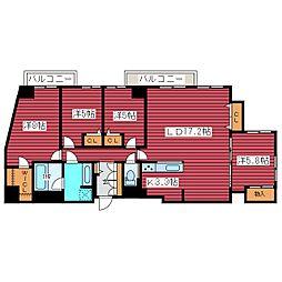 北海道札幌市豊平区福住二条2丁目の賃貸マンションの間取り