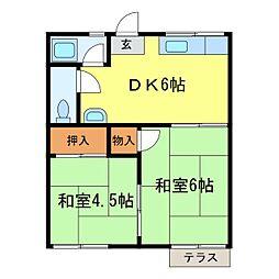 奥山ハイツA棟[102号室]の間取り