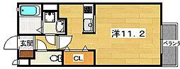 大阪府交野市私部2の賃貸アパートの間取り