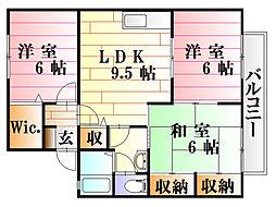 広島県広島市安佐南区西原3丁目の賃貸アパートの間取り