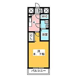 スタシオン・ヴィラ・シゲンド 2階1Kの間取り