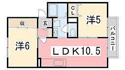 兵庫県姫路市御立西2丁目の賃貸アパートの間取り