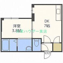 北海道札幌市東区北三十二条東1丁目の賃貸マンションの間取り