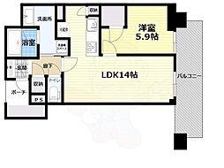 北大阪急行電鉄 千里中央駅 徒歩1分の賃貸マンション 14階1LDKの間取り